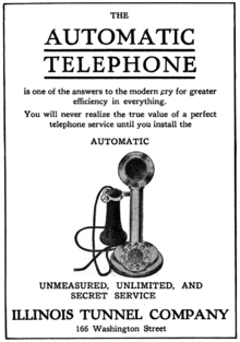 1910 advertisement for dial telephone service in chicago from the illinois  tunnel company, showing an automatic electric-made phone