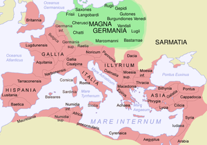 Agri Decumates - The Roman Empire in AD 120 and Germania, with some Germanic tribes mentioned by Tacitus in AD 98
