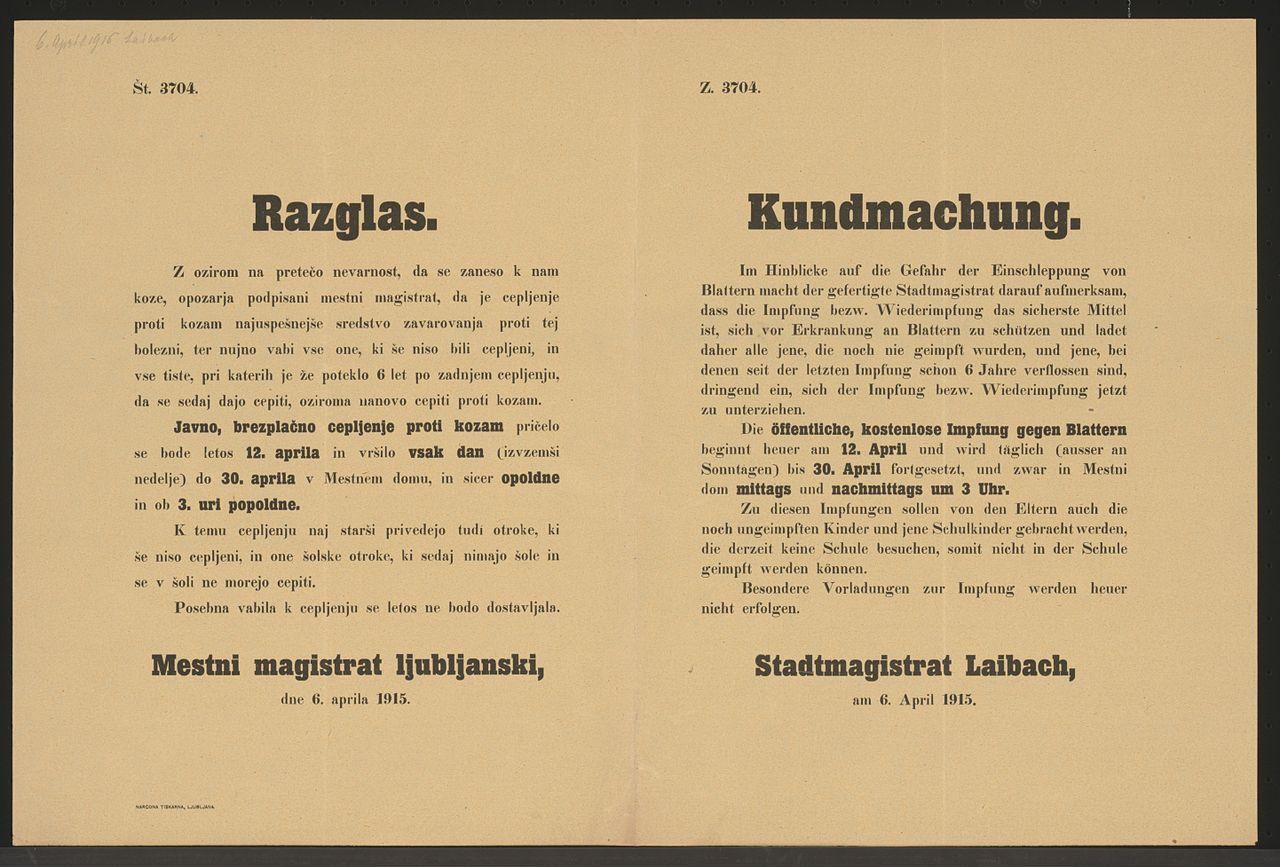 Besondere Len file impfung gegen blattern kundmachung laibach mehrsprachiges