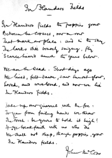 "The poem hand-written by McCrae. In this copy, the first line ends with ""grow"", differing from the original published version."