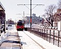 Inbound train at Boston University Central station, February 1977.jpg