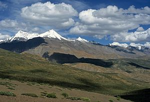 North India - Shilla (7026 m) above the Spiti Valley in Himachal Pradesh