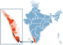 Location of Kerala in India