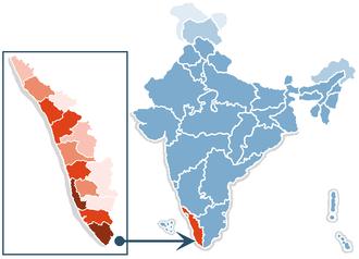 Demographics of Kerala - Location of Kerala in India