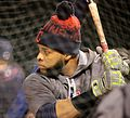 Indians DH Carlos Santana takes batting practice at Wrigley Field. (30009522253).jpg