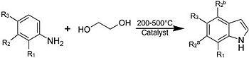アニリンとエチレングリコールの反応によるインドールの生成。