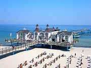 Germans invest much money in international travel and domestic vacation trips (seaside resort in Sellin on the island Rügen)