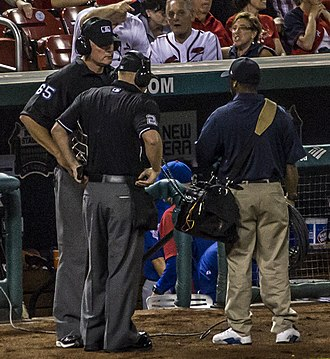 Instant replay - Umpires in St.Louis await the ruling.
