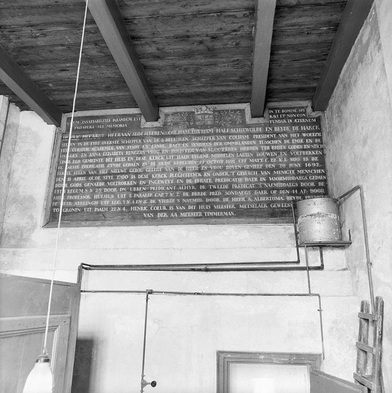 ... tekstbord in ruimte achter en boven orgel - harkstede - 20101557 - rce