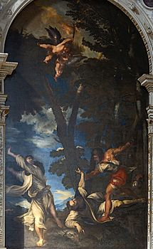 Interior of Santi Giovanni e Paolo (Venice) - Copy per, Johann Carl Loth of the martyrdom of St. Peter after Titian.jpg