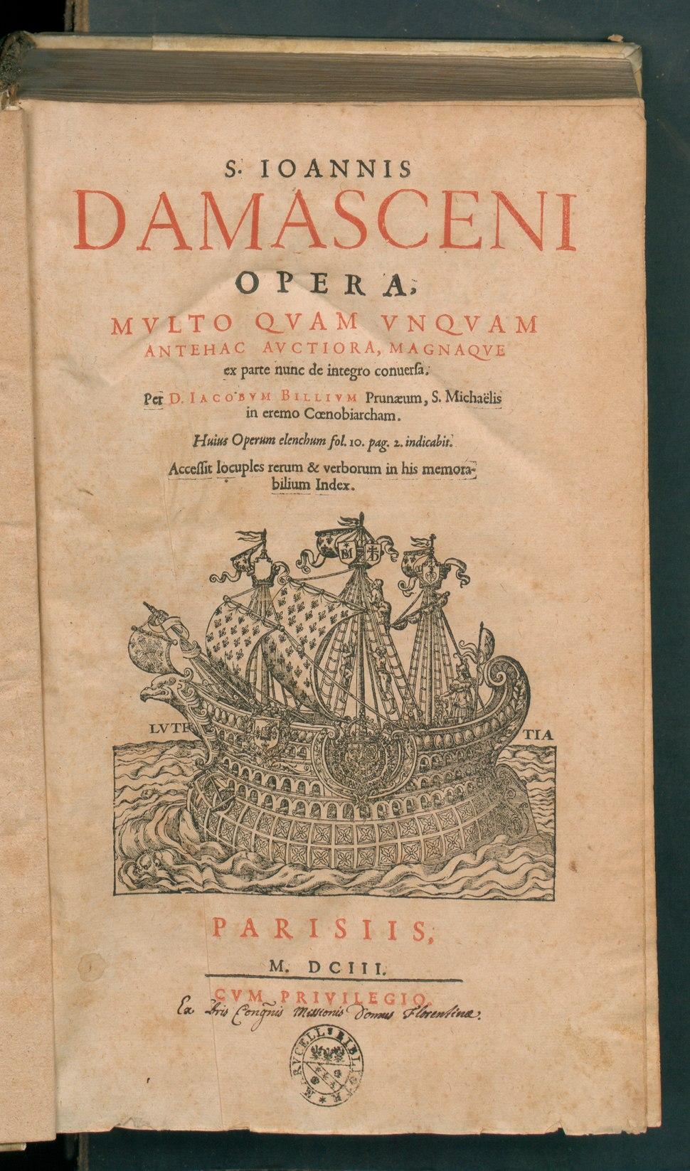 Ioannis Damasceni Opera