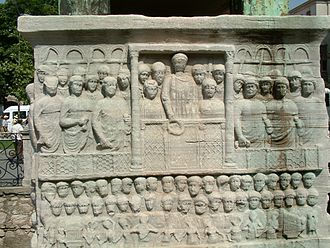 Hippodrome of Constantinople - The base of the Obelisk of Thutmose III showing Emperor Theodosius as he offers a laurel wreath to the victor from the Kathisma at the Hippodrome.