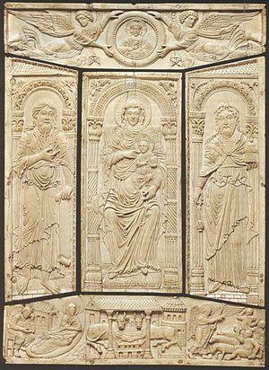 Book cover - Ivory cover of the Codex Aureus of Lorsch, c. 810, Carolingian dynasty, Victoria and Albert Museum