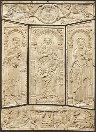 Book cover - Ivory cover of the Codex Aureus of Lorsch, c. 810, Carolingian dynasty, Victoria and Albert Museum