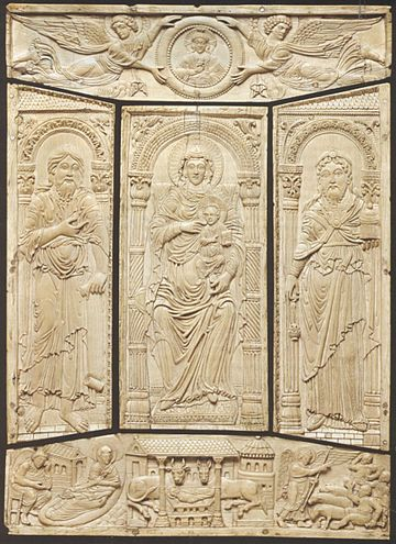 Ivory cover of the Lorsch Gospels, c. 810, Carolingian, Victoria and Albert Museum