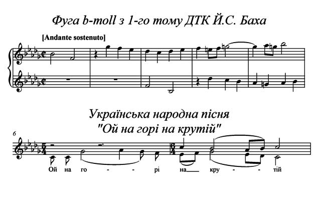 """Фрагмент фуги b-moll з першого тому ДТК Й.С, Бах і українська пісня """"Ой на горі крутій"""", що мають інтонаційну схожість."""