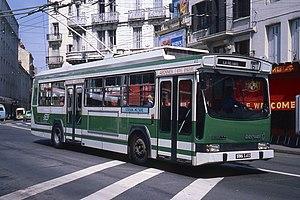 Trolleybuses in Saint-Étienne - A Berliet ER100 trolleybus in St-Étienne in 1981.