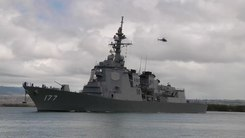 Податотека:JS Atago departs Pearl Harbor to participate in RIMPAC 2010, -6 Jul. 2010 a.webm