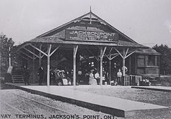 Postcard of Jackson's Point Station, terminus for the Toronto and York Radial Railway, from the 1910s