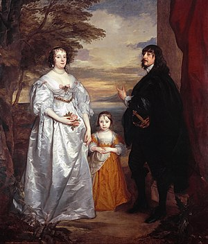 James Stanley, 7th Earl of Derby - Painting of James Stanley, his wife Charlotte, and one of their daughters by Anthony van Dyck, circa 1631–1641