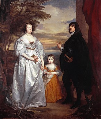 James Stanley, 7th Earl of Derby - James Stanley, 7th Earl of Derby with his wife Charlotte de La Trémoille and one of their daughters. Painting by van Dyck, circa 1631–1641