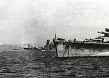 Japanese battleships at Brunei, Borneo, in October 1944 (NH 73090).jpg