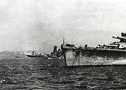 Japanese battleships at Brunei, Borneo, in October 1944 (NH 73090)