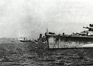 Brunei - Japanese battleships at Brunei in October 1944.