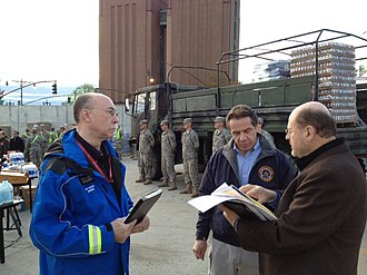 Jerome Hauer - Commissioner Hauer with NYS Gov. Andrew M. Cuomo and MTA Chairman Joseph J. Lhota discussing the response to Hurricane Sandy