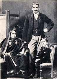 Jawaharlal Nehru as a young child with his parents
