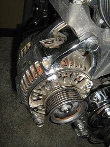 Alternator mounted on an automobile engine with a serpentine belt pulley (belt not present.) & Alternator - Wikipedia