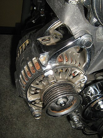 Alternator - Alternator mounted on an automobile engine with a serpentine belt pulley (belt not present.)