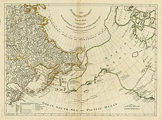 Great Northern Expedition - One of the most important achievements of the expedition was the mapping of the north east part of Asia. The geography department of the St. Petersburg Academy of Science published in 1754 a map with the title Nouvelle Carte des Découvertes faites par des Vaisseaux Russiens, which also depicted Vitus Bering's and Aleksei Chirikov's sea route. The new geographic information was quickly diffused and received widespread attention in all of Europe. The above is an English map entitled The Russian Discoveries prepared by the London cartographer Thomas Jefferys (this is a reprint published by Robert Sayer in the American Atlas of 1776).