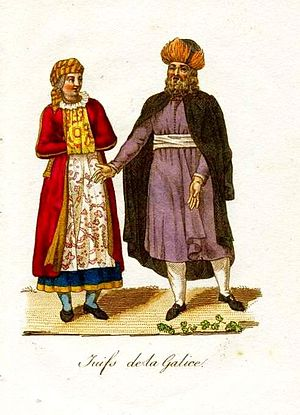 History of the Jews in Brody - Traditional dress of Galician Jews (Brody area). Postcard of 1821.