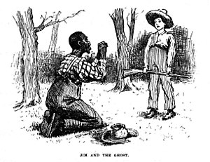Adventures of Huckleberry Finn - In this scene illustrated by E. W. Kemble, Jim has given Huck up for dead and when he reappears thinks he must be a ghost.