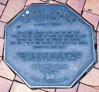 John Barr (poet) - Image: John Barr memorial plaque in Dunedin