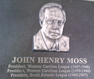 South Atlantic League - Portion of plaque displaying likeness of John Henry Moss at Municipal Stadium, Hagerstown, Maryland