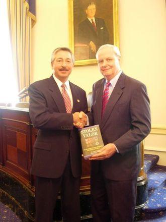 Stolen Valor - Burkett pictured with Congressman John Salazar and Stolen Valor