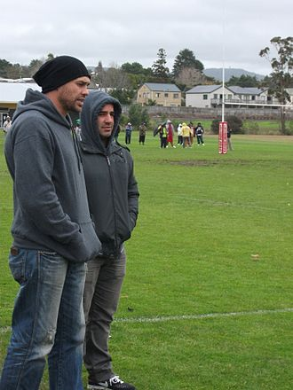 Stacey Jones - Jones and Awen Guttenbeil coaching the Point Chev Pirates in 2010