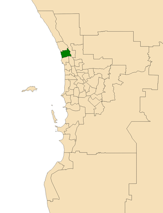Electoral district of Joondalup - Location of Joondalup (dark green) in the Perth metropolitan area