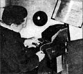 Jorg Mager playing the Gral Bells, 1938 02.jpg