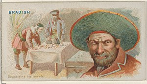 Joseph Bradish - Image: Joseph Bradish, Depositing His Jewels, from the Pirates of the Spanish Main series (N19) for Allen & Ginter Cigarettes MET DP835037