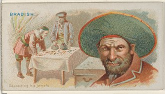 Joseph Bradish - Image: Joseph Bradish, Depositing His Jewels, from the Pirates of the Spanish Main series (N19) for Allen & Ginter Cigarettes MET DP835037