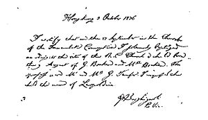 Josephine Bracken - A copy of Bracken's baptismal certificate.