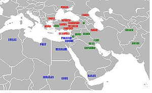Shem - Geographic identifications of Flavius Josephus, c. 100 AD; Japheth's sons shown in red, Ham's sons in blue, Shem's sons in green.