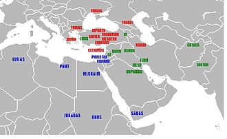 Figurism - Geographic identifications of Flavius Josephus, c. 100 AD; Japheth's sons shown in red, Ham's sons in blue, Shem's sons in green.
