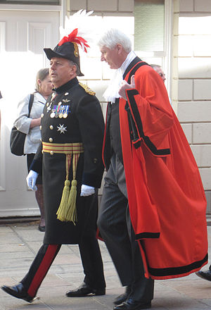 Politics of Jersey - The Lieutenant Governor is the representative of head of state and the Bailiff is the civic head. Both are appointed by the Crown. Here the holders of the offices in 2011 are seen processing alongside on Liberation Day