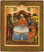 Judas receiving money, icon of Yaroslavl (19 c, priv.coll).jpg