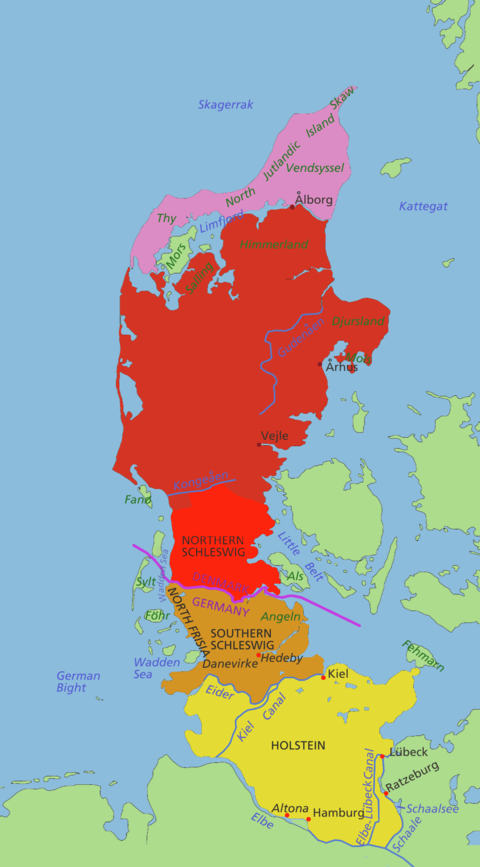 From north to south: The Danish part of Jutland in purple and terracotta, Schleswig in red and brown, and Holstein in lime yellow. The Schleswig-Holstein Question was about the status of those territories.