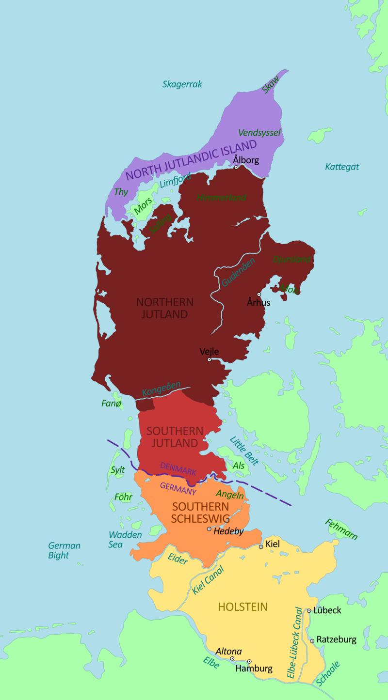 La península de Jutlandia. Holstein se muestra en color amarillo limón, Schleswig del Sur en café y Schleswig del Norte en rojo y la otra parte danesa de Jutlandia, en terracota